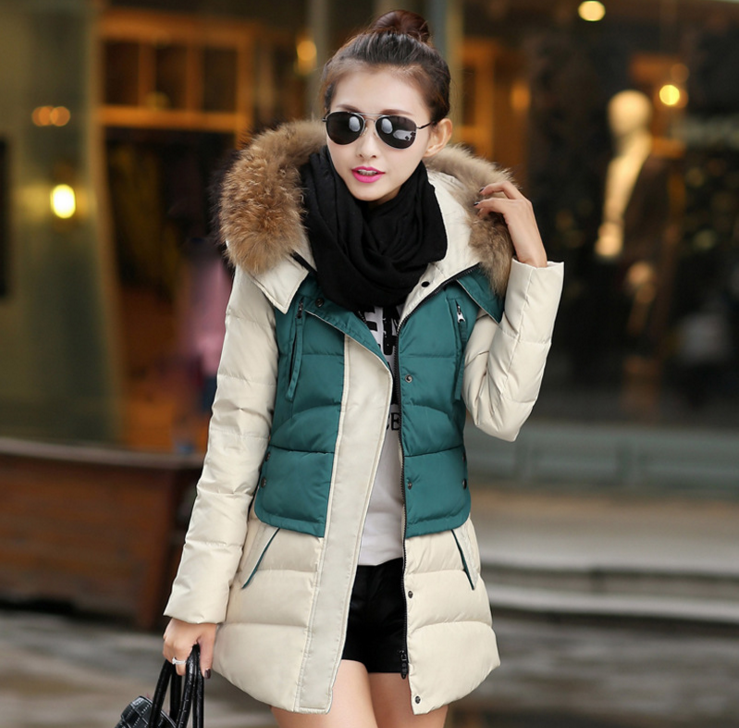 Long section of female new winter coat hooded padded jacket in Europe and America big yards