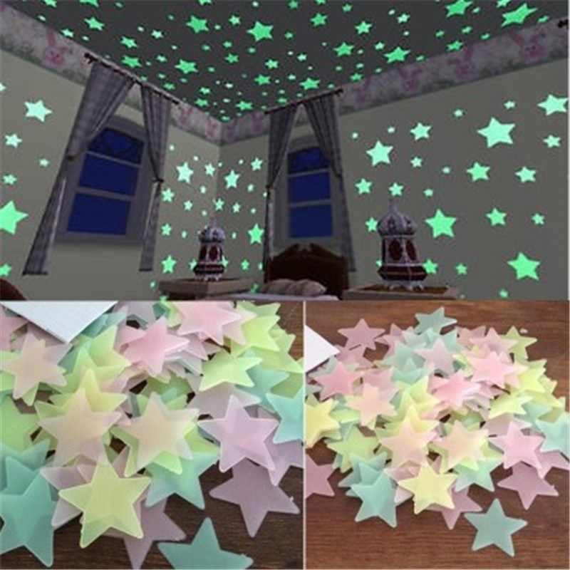 50 Uds estrellas 3D que brillan en la oscuridad pegatinas de pared luminosas pared fluorescente pegatinas para niños habitación de bebé dormitorio decoración del techo del hogar