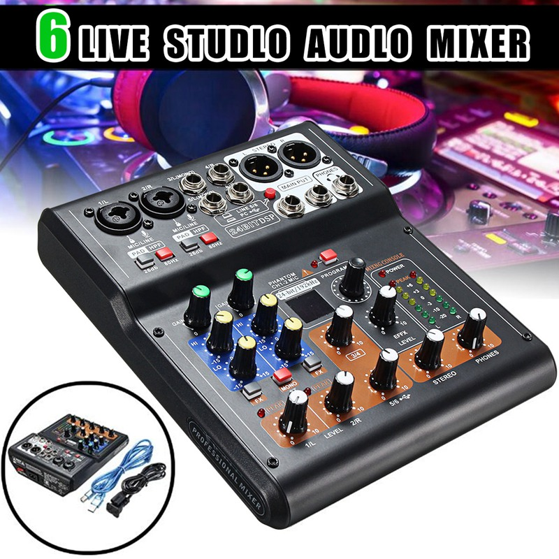 buy portable 6 channel live studio audio mixer phantom console mini usb. Black Bedroom Furniture Sets. Home Design Ideas