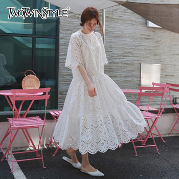 GALCAUR Hollow Out Dress Summer Oversize Big Hem Elegant Beach Female With Spaghetti Strap Dresses 2020 Sweet Clothes