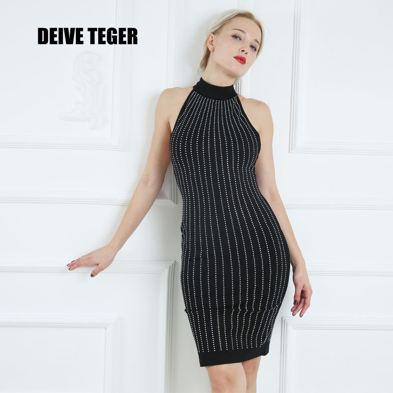 DEIVE TEGER sexy 2017 sleeveless  Magazine Explore Striped O-Neck dleeveless Diamond Spandex Elastic Sheath Women BY068