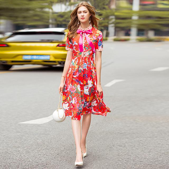 1e0b170d733 Dress Women Bow Button Short Sleeve Rose Floral Print Pleated Slim Dress