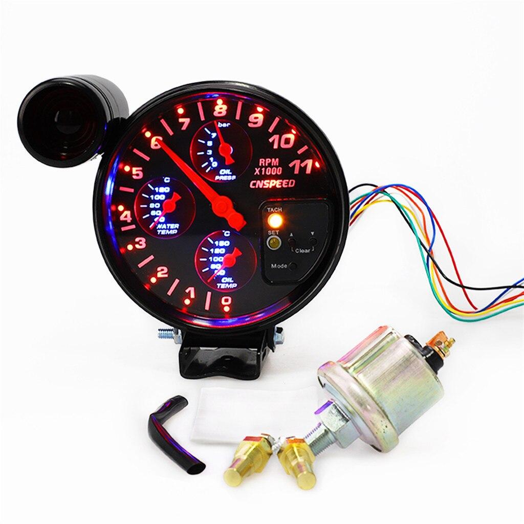 Franchise 5 pouces bricolage 4 en 1 RPM 12 V tachymètre universel température de l'eau température de l'huile jauge de pression d'huile #0520