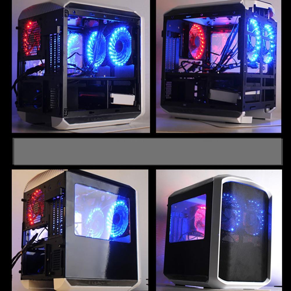 Image 2 - 16 дБ ПК компьютер ультра тихий 15 светодиодов корпус вентилятор Радиатор охлаждения ПК Вентилятор 120 мм, 12 см вентилятор, 12В DC 3 P IDE 4pin-in Охлаждающие подставки для ноутбука from Компьютер и офис
