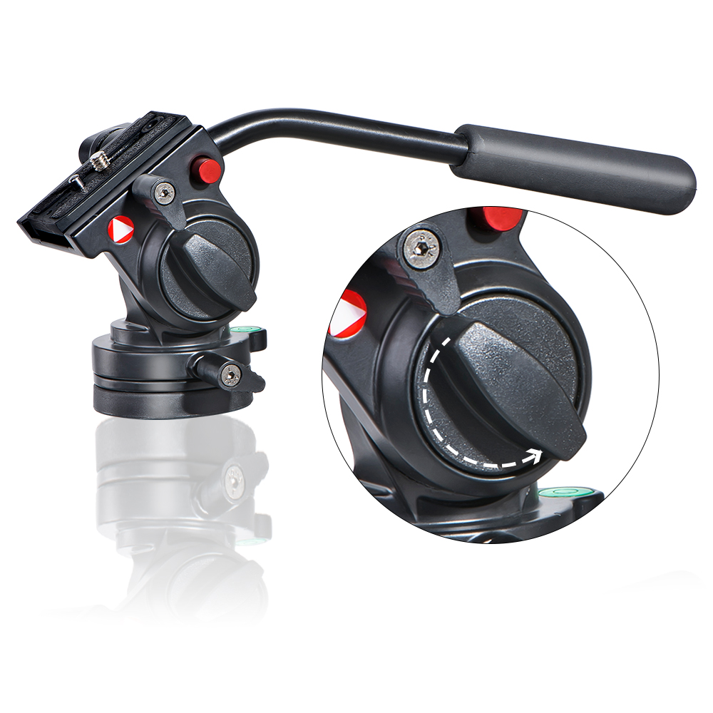 KH 6750 Photography Fluid Drag Hydraulic Head With Handgrip 360 Degree Panoramic Rotatabl Video Tripod Head Camera Head for DSLR