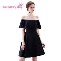 dresses cocktail elegant short knee length party woman off the shoulder dress black fashion for women 2019 sale H4216