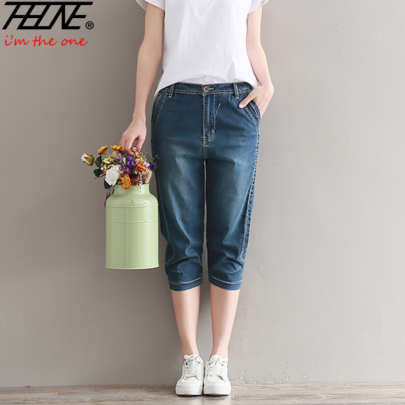 THHONE Plus Size Jeans Women Harem Pants Denim Knee Length Trousers Loose Stretch Mid Waist Casual Vaqueros Fashion Jeans heena dhawan a heterogenous clustering protocol in wsn href leach protocol