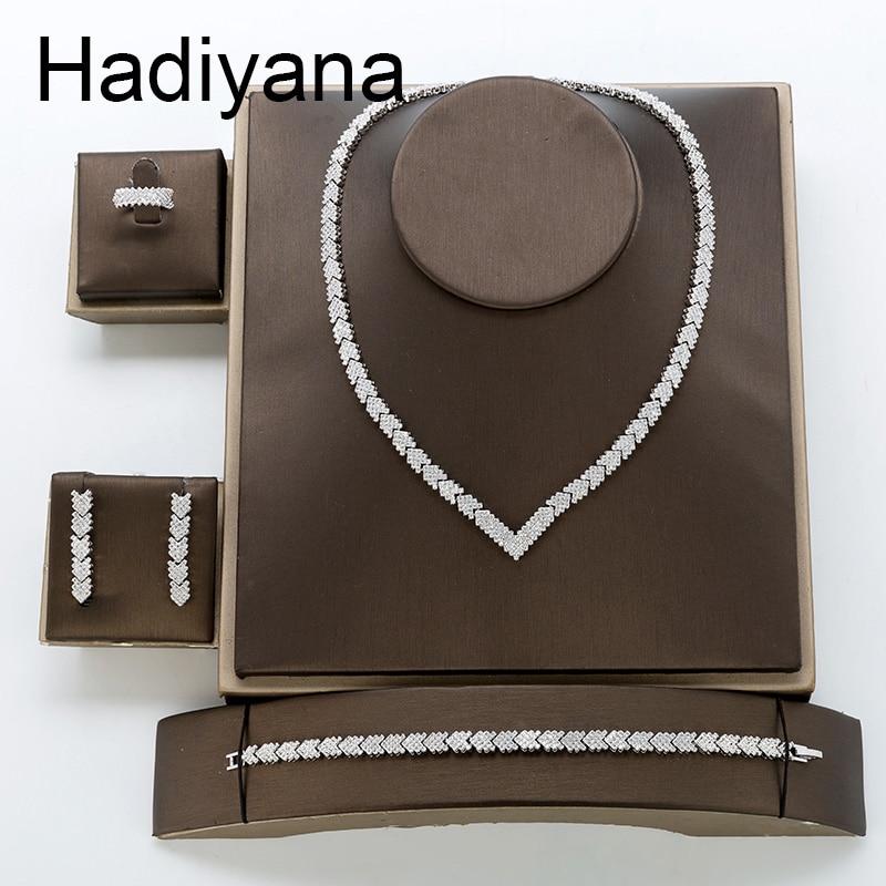 Hadiyana 2018 Fashion AAA Zircon Set Shiny Arrow Jewelry Necklace Earrings Bracelet Ring Sets Bride Engagement
