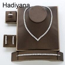Hadiyana 2018 אופנה AAA זירקון סט מבריק חץ תכשיטי שרשרת עגילי צמיד טבעת סטי כלה אירוסין חתונה TZ8123