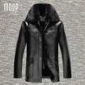 Black PU leather jacket men coat winter fur lined leather coats for winter chaqueta moto hombre veste cuir homme LT771