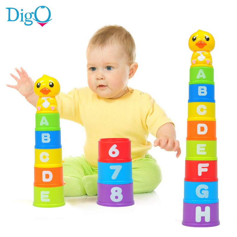 Children's Water Bathing Toys Baby Duck Rainbow Stacking Cups Set Kids Early Education Letter and Number Cup Stacker Toys D50