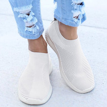 Socks Shoes Women Sneakers Slip-on Air Mesh Casual Shoes Women Shallow Shoes Black Sneakers Loafers Female Zapatillas Mujer