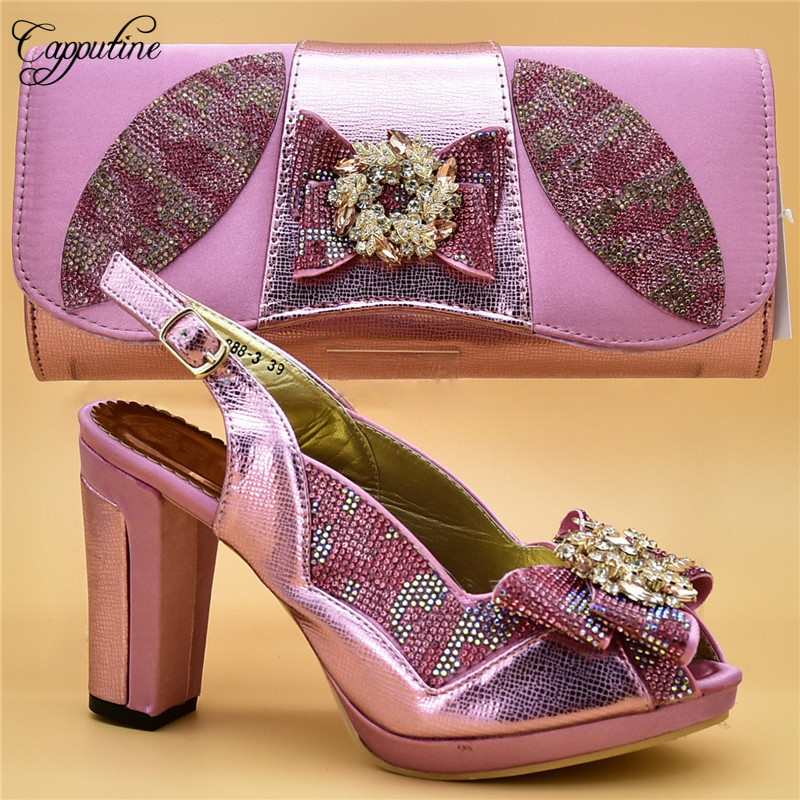 Capputine Italian Pretty Decorated With Appliques Shoes And Bag Set New Fashion