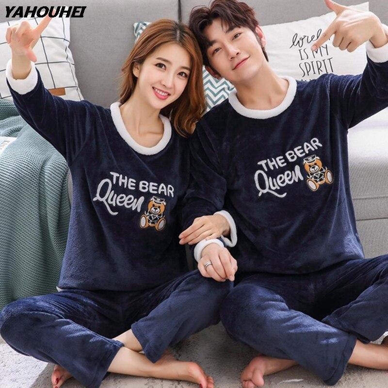 Couples Winter Thick Warm Flannel   Pajama     Sets   for Women Long Sleeve Coral Velvet Pyjama Men Cute Cartoon Sleepwear Home Clothing