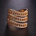 Nova marca Três Camadas Anéis Rose Banhado A Ouro Micro Pavimentada Zircão cúbico Anel de Dedo Anéis de Casamento Das Mulheres Do Partido de Luxo Cobre Bague