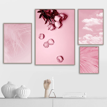 Pink Rose Feather Cloud Wall Art Canvas Painting Nordic Posters And Prints Pop Flower Paintings For Living Room Decor