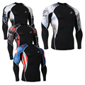Moda masculina Entrenamiento Gimnasio MMA Compresión Capa Base Camisa de Manga Larga de Lycra de Impresión 3D Camisetas Culturismo Tops
