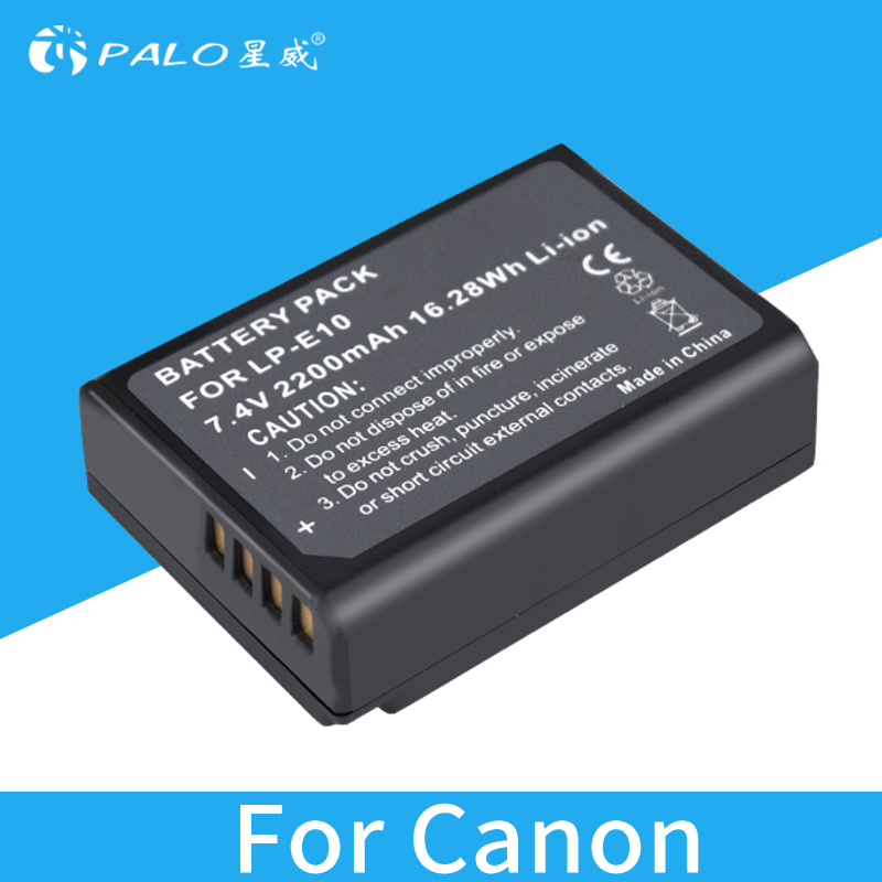цена на PALO 2200mAh LP-E10 Camera Battery For Canon 1100D 1200D 1300D Rebel T3 T5 KISS X50 X70 7.4V batterias digital batteries
