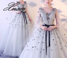 vestido de noiva 2019 Button Back Lace Applique Pearls Crystal V Neck Dresses