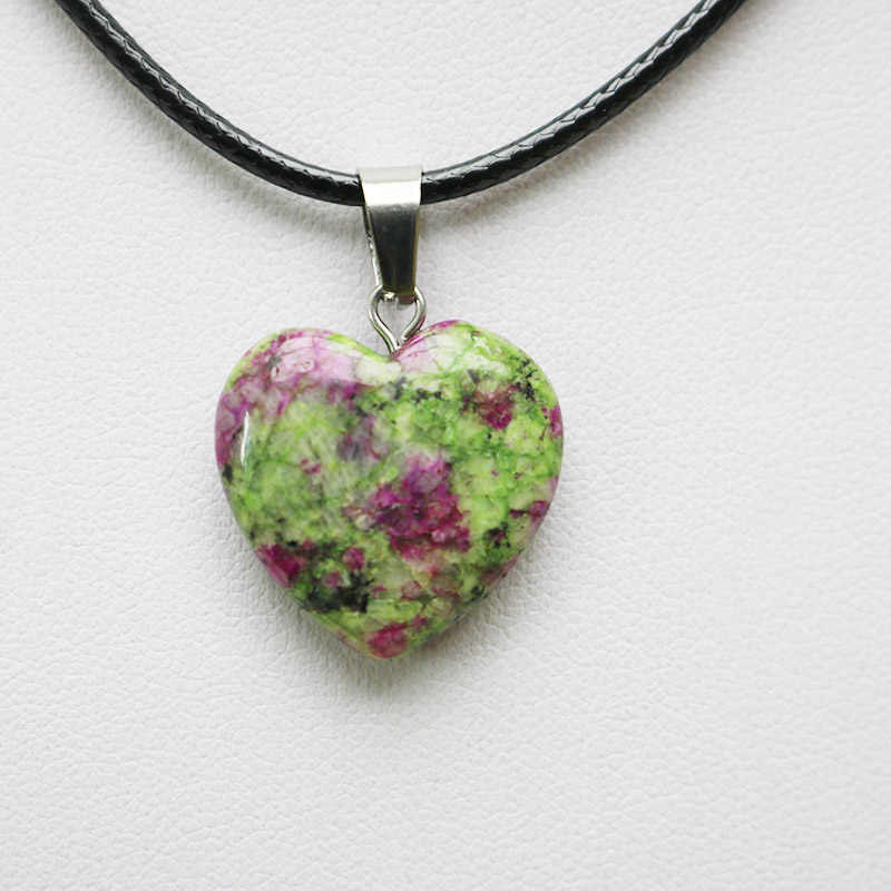 1Pcs หินธรรมชาติคริสตัลหัวใจจี้ลูกตุ้มคริสตัล Opalite Chakra Charms สร้อยคอ Healing จี้หินธรรมชาติ