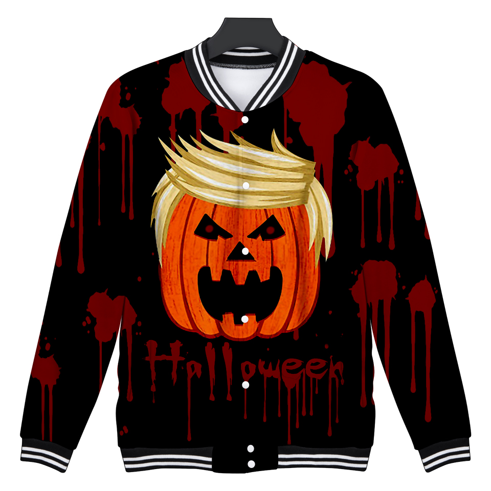 Halloween 3D Baseball Jacket Skull Print Autumn Women/Men Cool And Fashion Coats Casual Jacket Fashion Clothes XXS To 4XL