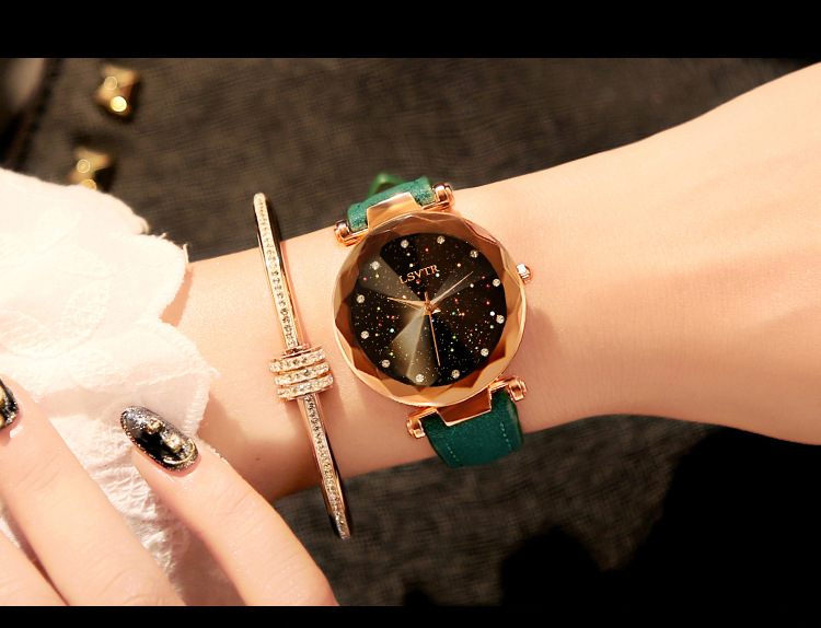 18 Luxury Brand Gogoey Women Watches Personality romantic starry sky Wrist Watch Leather Rhinestone Designer Ladies Red Clock 27