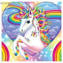 Vaivorykštės širdis Vienaragis 5D Deimantinis paveikslas Arklių siuvinėjimas Kryžminis stilius Namų dekoras Dovanų siena Kambarių meno lipdukas Piktograma 30 * 30 cm