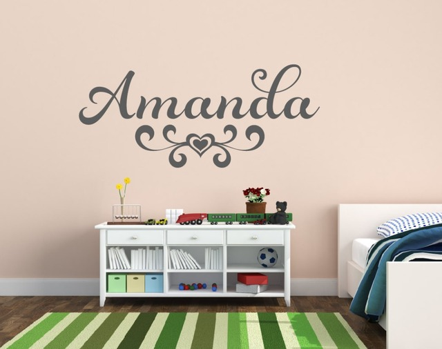 Customized Name Flower Wall Decal Vinyl Sticker For Kids Bedroom Nursery Home Decoration Decor