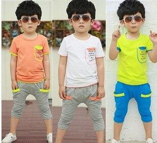 6ca3a63c3 الأطفال طفل الفتيان الملابس مجموعة القطن الترفيه تناسب الفتيات ملابس الطفل  و الاطفال مجموعة 2-7years مجموعات الأطفال الصيف قميص الأعلى + بانت