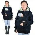 Bebé Que Usa Chaqueta de Lana de Invierno de Maternidad prendas de Vestir Exteriores Caliente de Las Mujeres Embarazadas Canguro Abrigo Del Portador de Bebé Desgaste