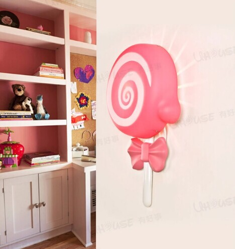 Acrylic pink lollipop lovely environmentally friendly LED wall lamp for kids bedroom night lamp bedside lamp,E14*1 bulb included
