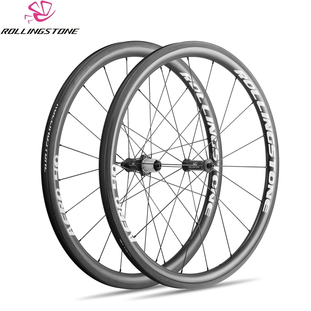 UCI Rolling Stone bicycle wheels rear front high TG carbon wheelset 700C clincher 40mm aero rim road bike wheel set 1580g taiwan 2017 limited promotion bike wheels full carbon fiber wheels road bike 40mm 700c rim front 20 holes rear 24 wheelset hot sale