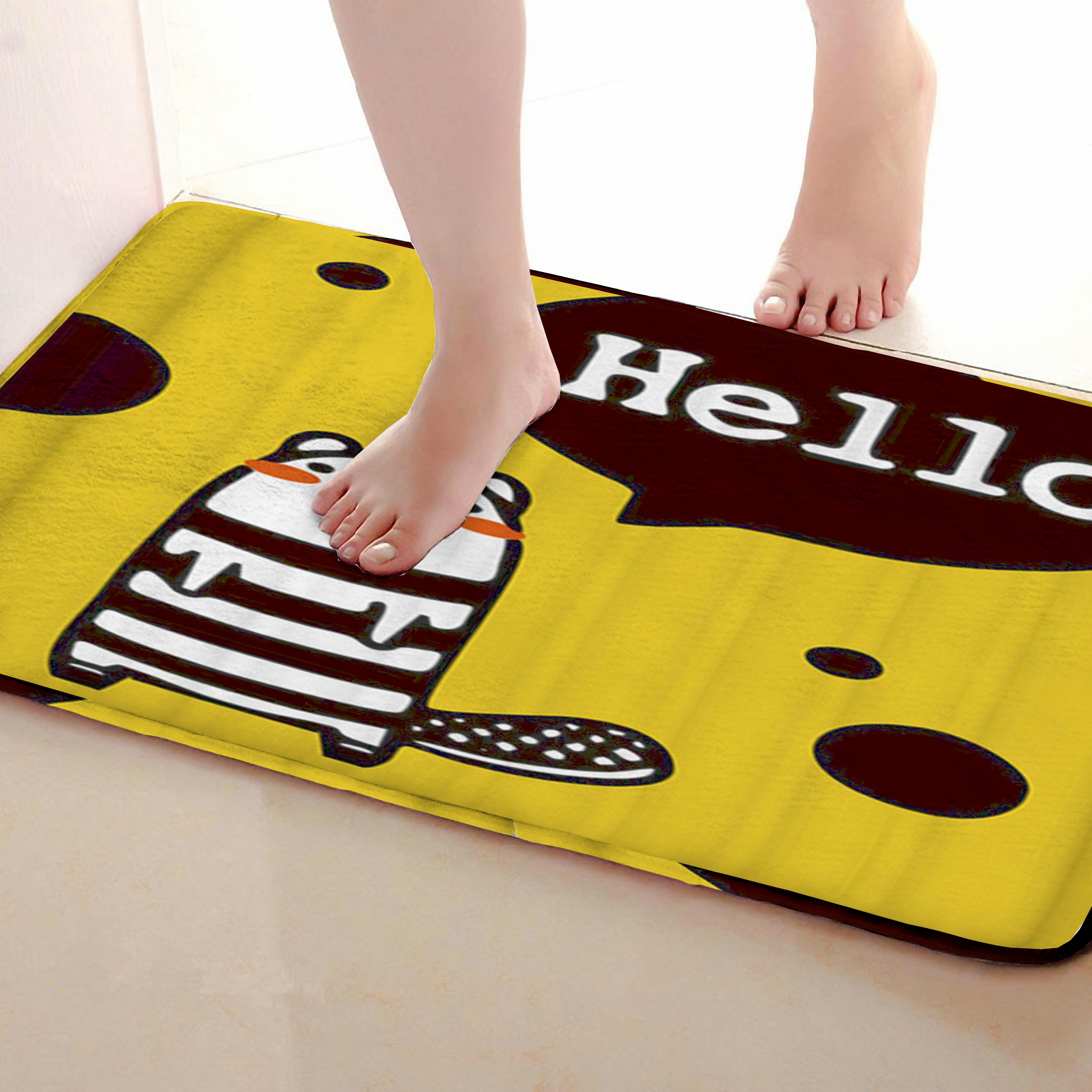Hello Style Bathroom Mat,Funny Anti skid Bath Mat,Shower Curtains Accessories,Matching Your Shower Curtain