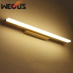 W stylu japońskim drewniana ściana światło źródło led  anti fog ubikacja lampa lustrzana  dekoracja pokoju oprawa w Wewnętrzne kinkiety LED od Lampy i oświetlenie na