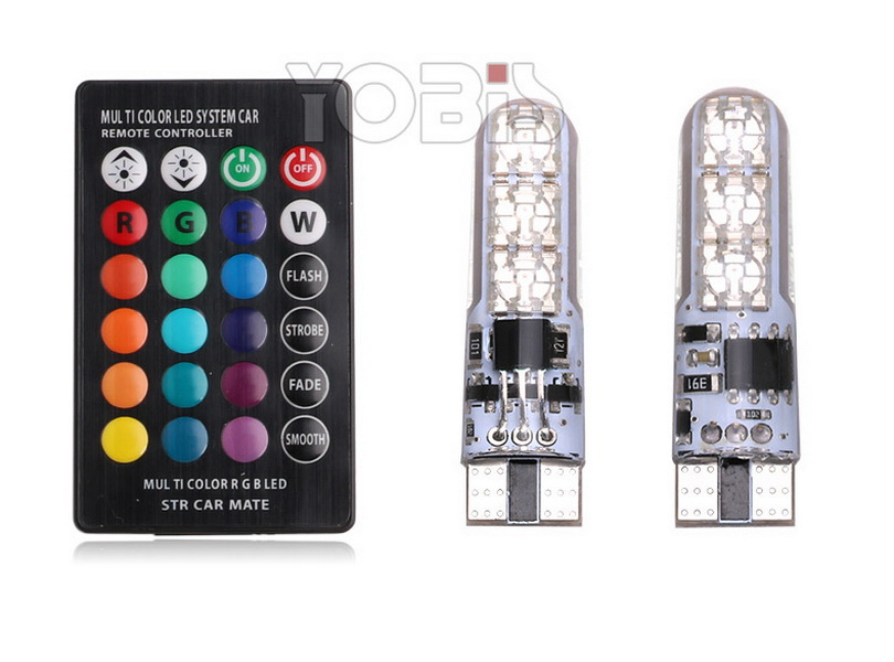 DHL 100set T10 LED Car Lights LED Bulbs RGB With Remote Control Strobe Led Lamp Reading