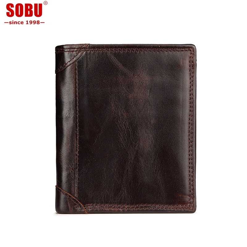 Genuine Crazy Horse Leather Mens Wallet Man Cowhide Cover Coin Purse Small Brand Male Credit&id Multifunctional Walets V056