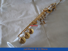 White Lacquer Body and Lacquer Gold Keys Straight Soprano Saxophone Sax White Shell Key High F# G Free Case