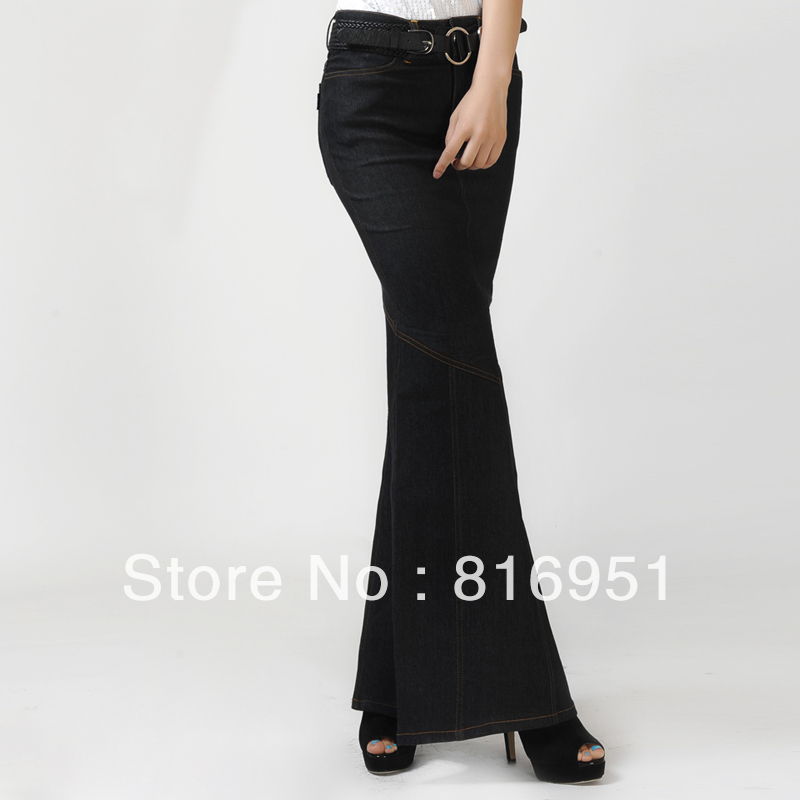 fashion jean skirt fish skirt slit maxi skirt