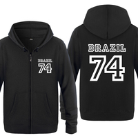 Brazil 74 Personality Sweatshirts Men 2018 Mens Zipper Hooded Fleece Hoodies Cardigans