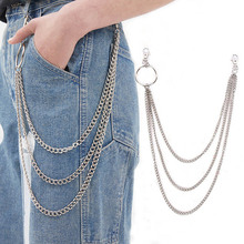 BLA Three-layer Pant Chain Waist Belt Rock Jeans Keychain Wallet Link Key Fashion Punk Hip-hop keyring Z30