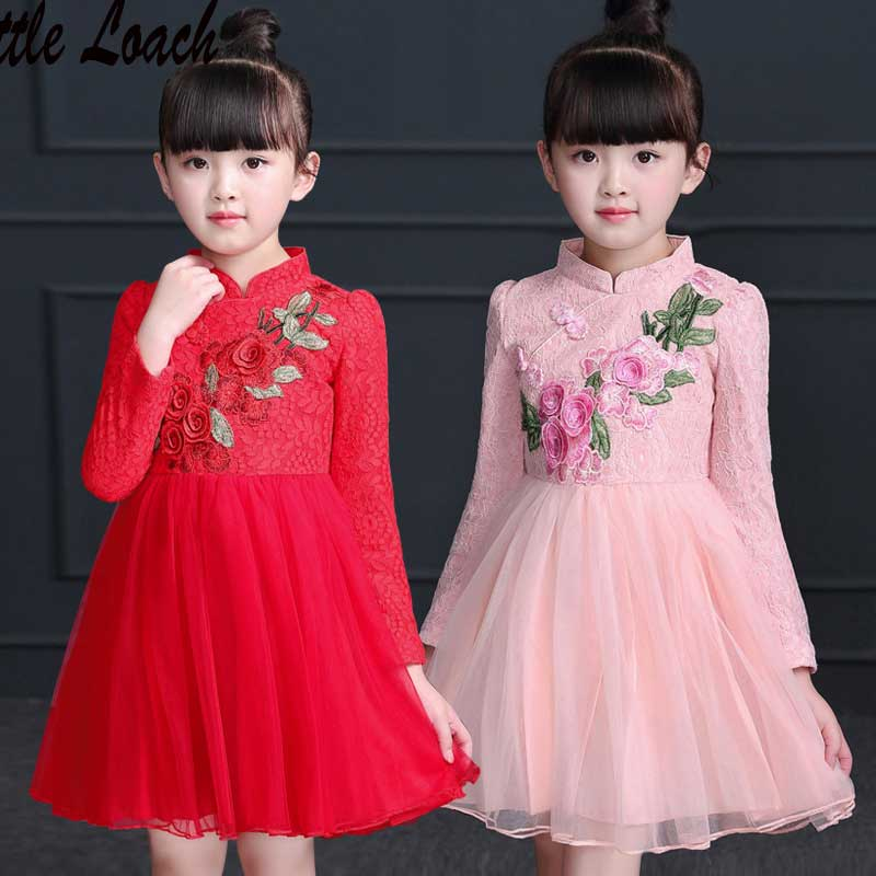 3-12Years Girls Pink Red Dress Spring Autumn Lace Layered Chinese Style Princess Dresses Qipao Traditional Embroidery Costumes