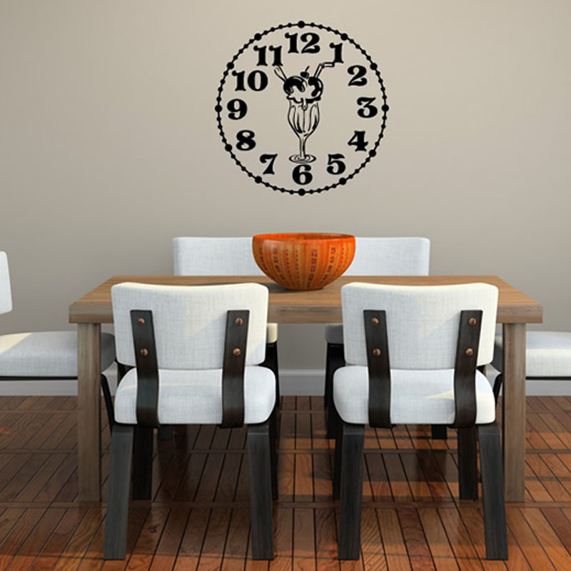 Hot Sale New Design Creative Wall Sticker Clock With Ice-Cream Self Adhesive Removable Home Decor On Wall