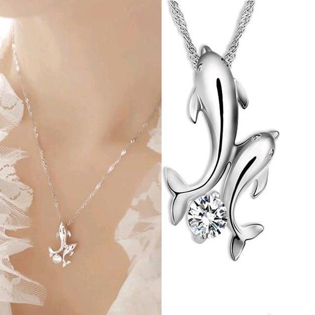 FAMSHIN Cute silver plated double dolphin rhinestone short-chain necklace women