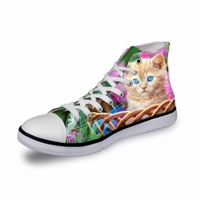 Noisydesigns Women sneakers Casual cat in flowers 3D print flat vintage Canvas Vulcanized shoes high top flats girls footwear