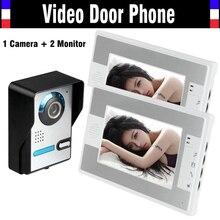 New 7 Inch Video Door Phone Intercom Doorbell Video Doorphone System IR Night Vision Outdoor Camera 2pcs LCD Color Monitor