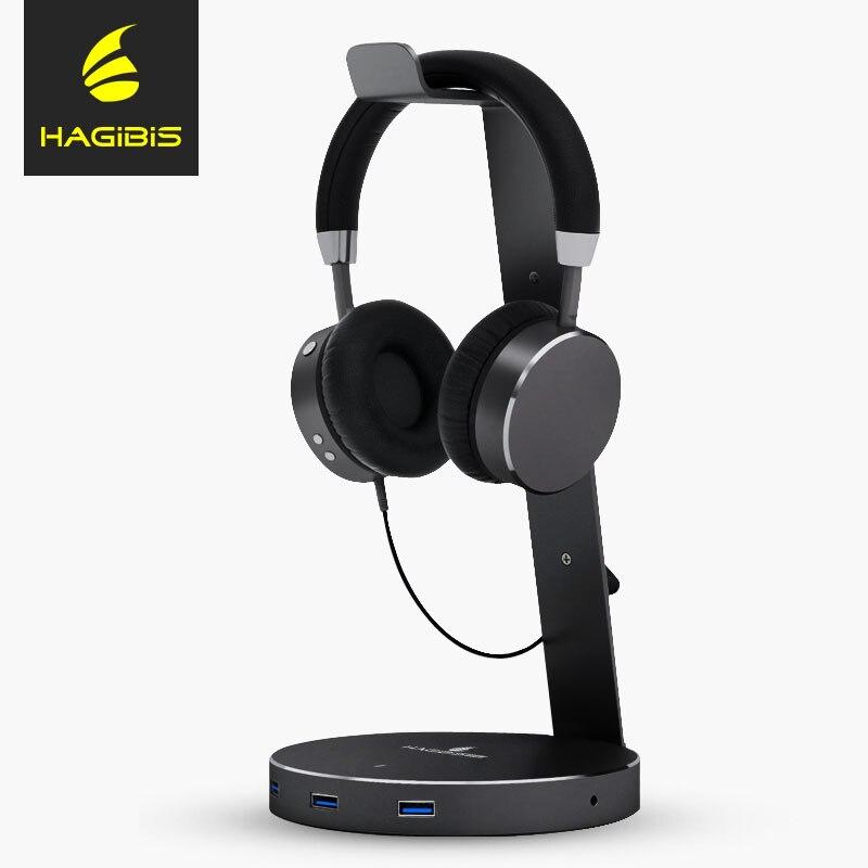 Hagibis USB 3.0 Earphone Hanger Headset Headphone Stand Holder With 4 Ports of 3.0 Usb Hub Display for Headphones Cable Storage цена