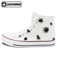 Bullet Hole Original Design Converse Chuck Taylor Women Men Sneakers Hand Painted Custom High Top Canvas Shoes Man Woman Gifts