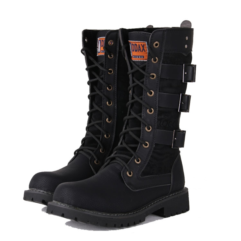 Army Boots Men High Military Combat Boots Metal Buckle Punk Mid Calf Male Motorcycle Boots Lace