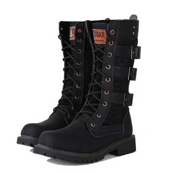 Army Boots Men High Military Combat Boots Metal Buckle Punk Mid Calf Male Motorcycle Boots Lace Up Men's Shoes Rock - DISCOUNT ITEM  40% OFF All Category
