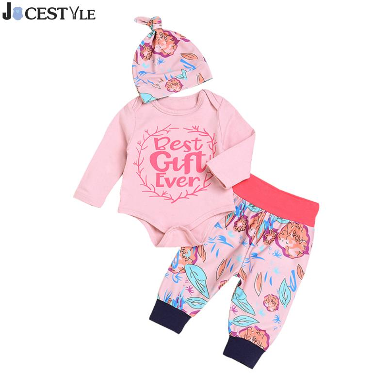 Baby Girls Clothes Set Long Sleeve Letter Printed Baby Girl Romper+Floral Pants Hat 3pcs Outfits Infant Bebe Clothing